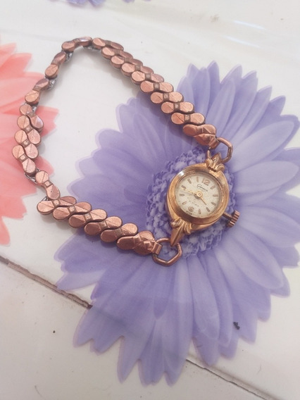 Relógio Antigo Geneva De Corda Plaque Dourado C Pulseira Mol