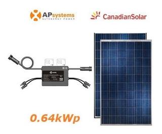 Conjunto 2 Placa Solar 330 W Com 1 Inversor Apsystem Yc 600