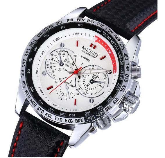 Relógio Masculino Megir 1010 Pulseira De Couro Quartz