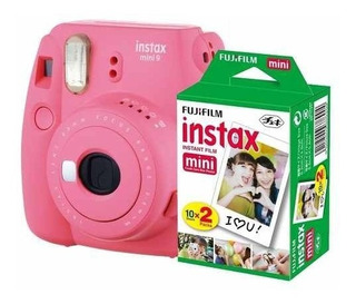 Camara Instax Fuji Mini 9 Rosa Flaming+kit De 20 Peliculas