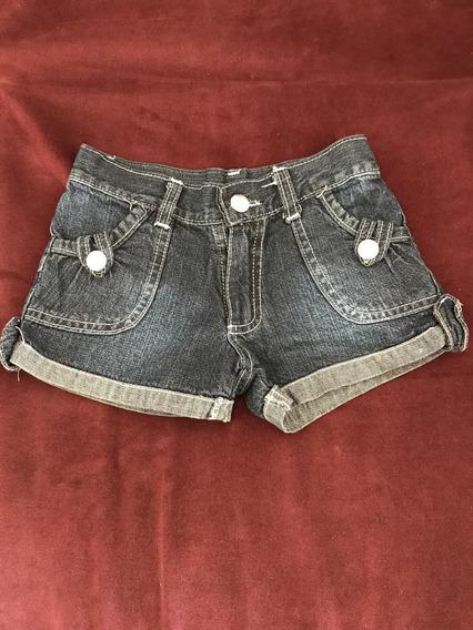 Short Jean Con Bolsillos En Ambos Lados Niña Talle N 4