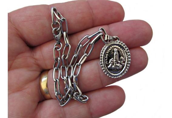 Cadeia Consagraçao A Nossa Senhora Inox Tornozelo + Medalha