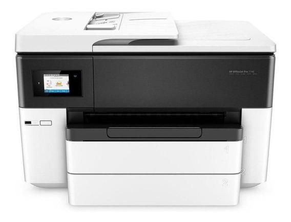 Impressora a cor multifuncional HP OfficeJet 7740 com Wi-Fi 110V/220V branca e preta