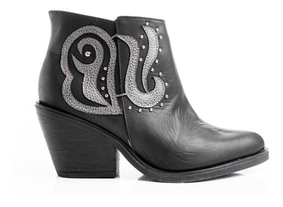 Botas Zapatos Mujer Texanas Botinetas Taco Cuero Bordado