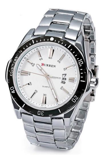 Relógio Masculino Luxo Resistente Aço Inox Calendário Curren