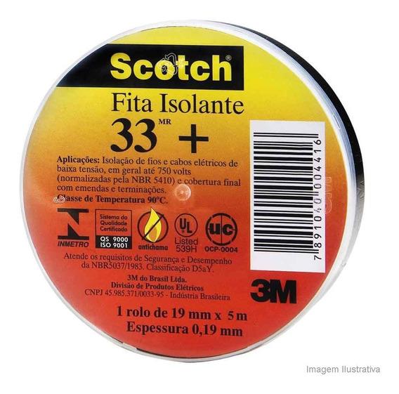 Fita Isolante 19mmx5 M Scotch 33 Preto 3m 3m