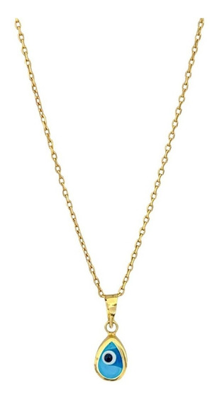 Collar Oro De 14k Forma Ojo Turco Gota 2