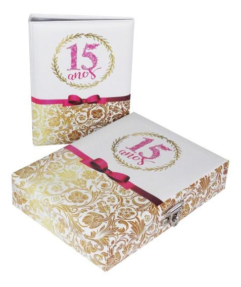 Álbum Maleta 15 Anos Branco E Rosa Para 100 Fotos 15x21