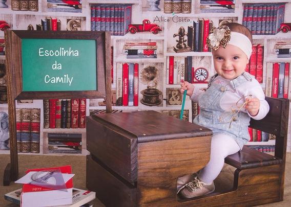 Carteira Lousa Escola Prop Acompanhamento Foto Bebê Cenário