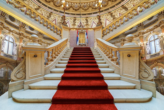 Fundo Fotográfico Tecido 3d Escadaria Hall Palacio 3,0x2,0m