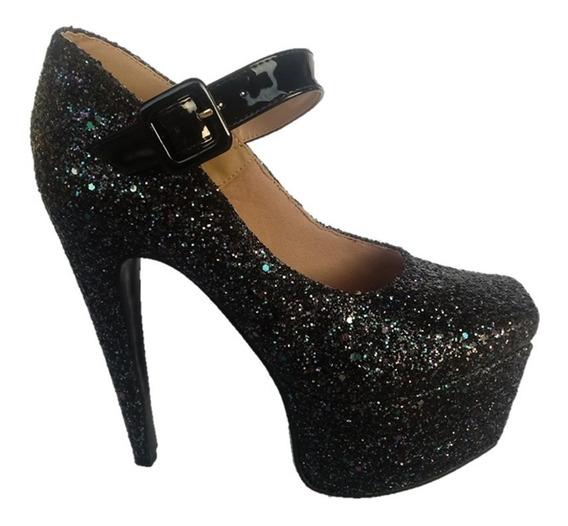 Sapato Scarpin Salto Alto Glitter Tamanho 40