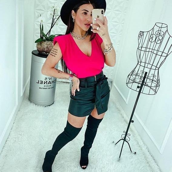 Blusa Camiseta Muscle Tee Gola V Moda Feminina Com Ombreira