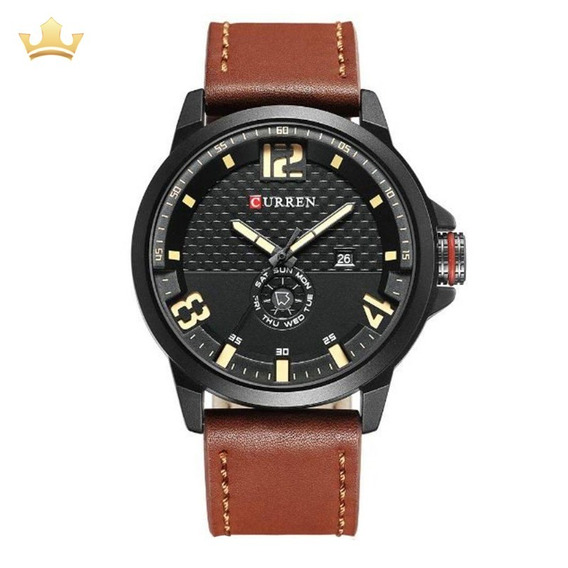 Relógio Masculino Curren Analógico 8253 Marrom Com Nf