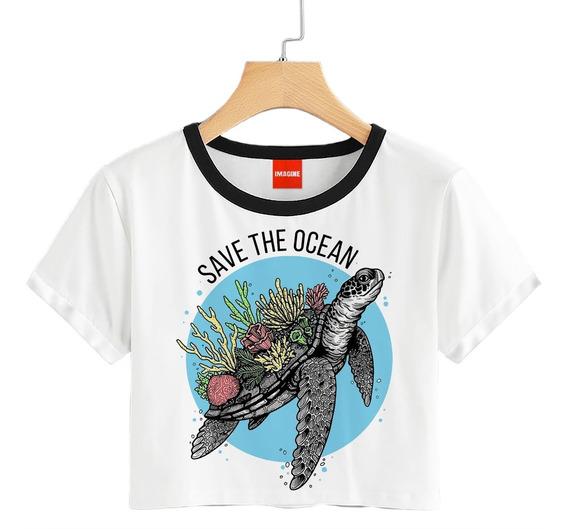 Blusa Dama Save The Ocean Tortuga Animales Playera Crop #766