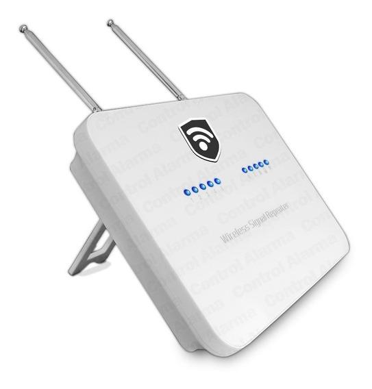 Repetidora Señal 433mhz 2 Antenas Inalambrica Extensor Cobertura Sensores Alarma Batería Respaldo Seguridad Casa