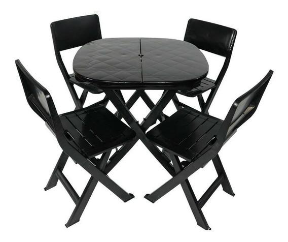 Jogo Conjunto 1 Mesa 4 Cadeira Dobrável Plástico Bar Varanda
