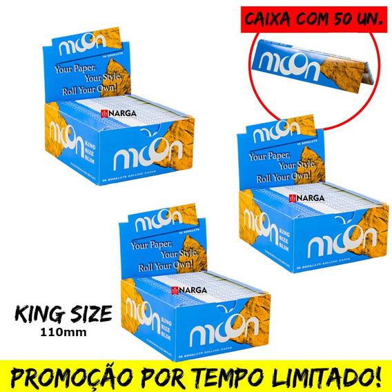 3 Caixa De Seda Moon Smoking King Size C/ 50un Preço Atacado