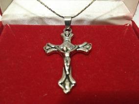 Corrente Mais Crucifixo Foleado Prata 25 Cm