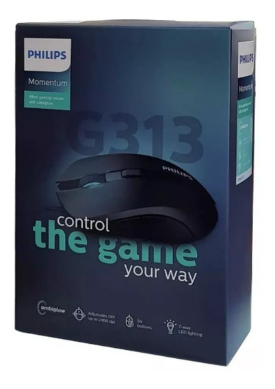 Mouse Gamer Philips Momentum 2400dpi 6 Botões Led