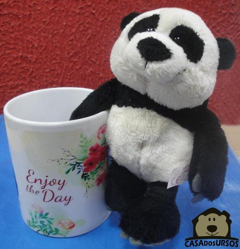 Imagem 1 de 7 de Caneca De Porcelana 330ml + Urso Panda 15cm - Enjoy The Day