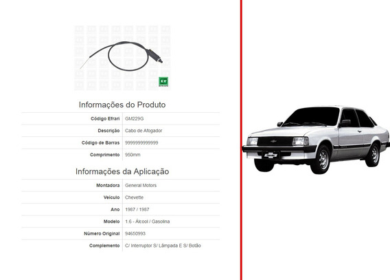 Cabo Afogador Chevette 1.6 1987 950mm (94650993) C/ Interrup