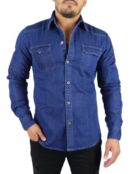 Kit 2 Camisas Social Jeans Masculina Tecido Leve Slim Fit