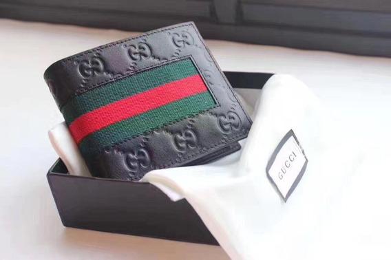 Carteira Gucci Clássica Monograma E Listras Masculina
