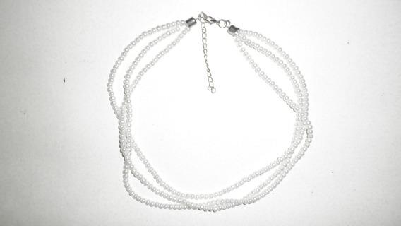 Collar De Triple Cadena - Imitación Perla Blanca - Económico
