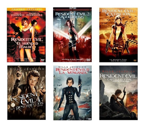 Resident Evil Coleccion Completa Peliculas 1 2 3 4 5 6 Dvd