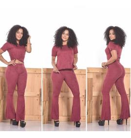 Conjunto Cropped E Calça Feminino Suede Moda 2019 Blusinha