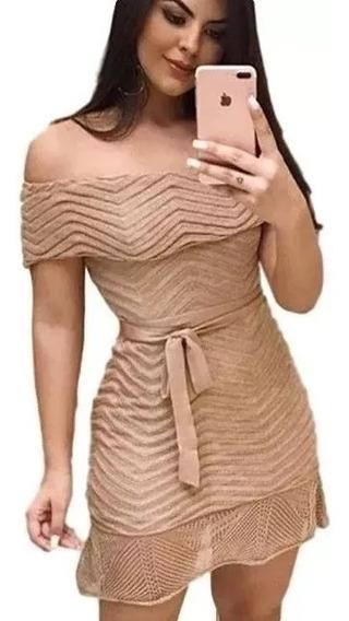 Vestido Tricot Feminino Ciganinha Rodado Tomara Que Caia