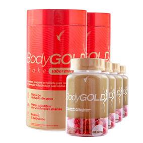 Kit Bodygold Tratamento 2 Meses + 2 Shakes Morango 400g