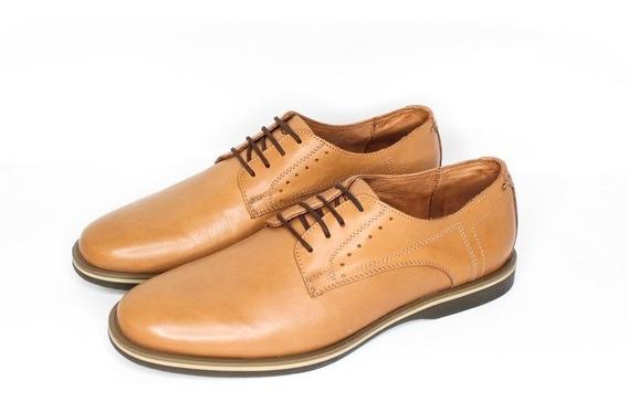 Zapato De Vestir 100% Cuero Acordonado Base De Goma Forro En