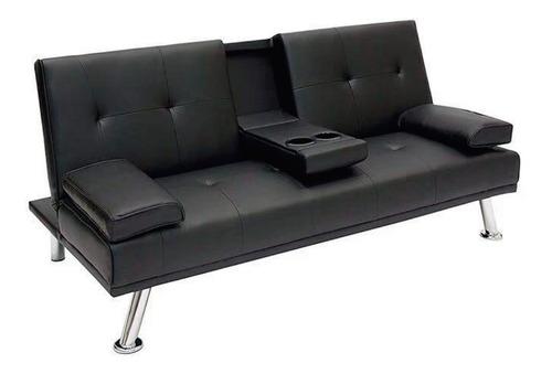 Sofa Cama Sillon Juego De Living Reclinable Posavaso Negro