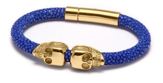 Brazalete 3x2 Kingsman Oro 18k Azul Doble Calavera Stingray