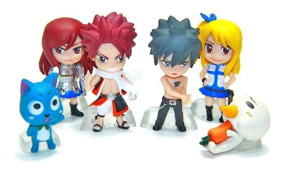 Set De 6 Figuras De Fairy Tail Natsu Elsa Lucy Gray Happy