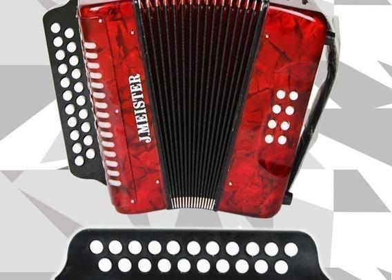Acordeon 8 Bajos Llaves De Botones Diatonico Rojo J Meister