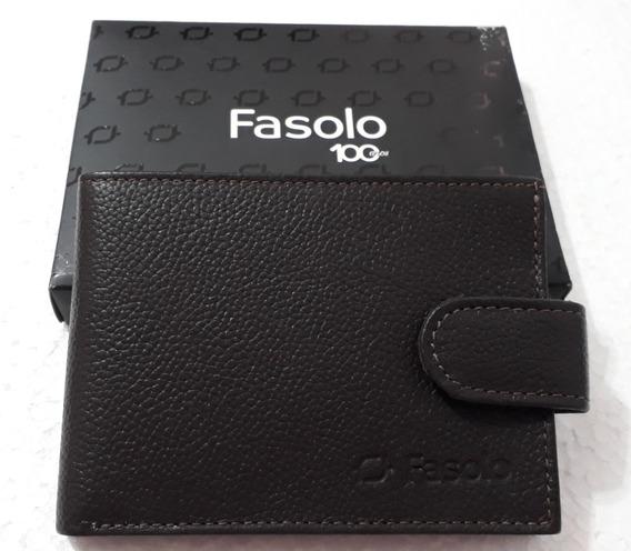 Carteira Masculina De Couro Fasolo H016
