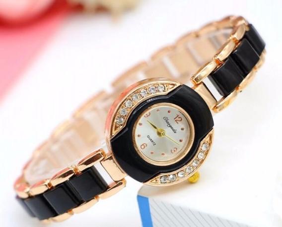 Relógio Feminino Social Dourado Na Caixa P/presente