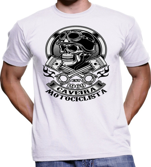 Camiseta Camisa Moto Caveira Motociclista Feminina E Masculi