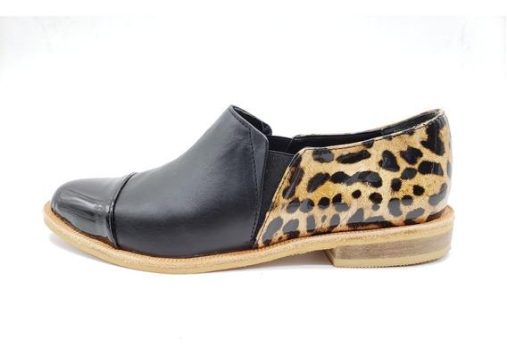 Chata Punta Elastico Moda Calzado Zapato Dama Cuero Valencia