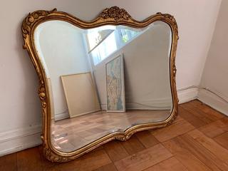 Espejo Francés Viselado Antiguo 1900 Marco Dorado 60x75 Cm