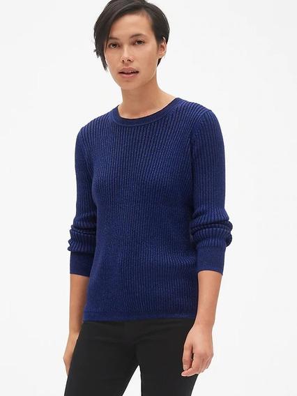 Suéter Gap Metálico Dama Azul Gris Plata Talla Mediana Moda