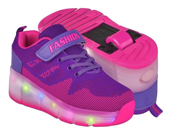 Tenis Patin Niña Led & Wheels Hg17352 Purpúra
