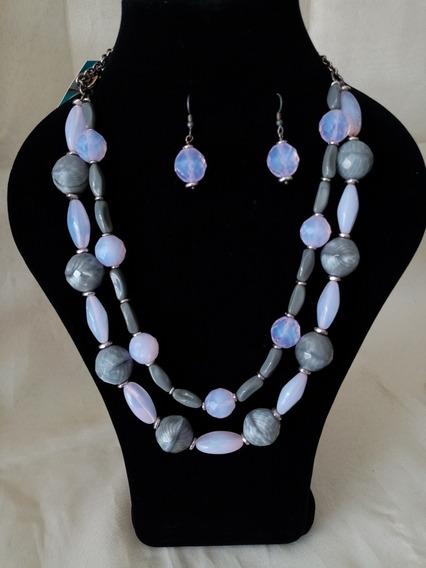 Collar De Auténtico Cristal Checo Zava Beads Gris
