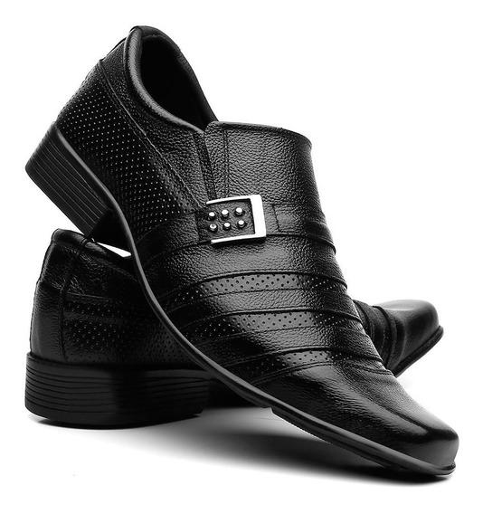 Sapato Social Masculino Couro Bico Fino Conforto Dia A Dia