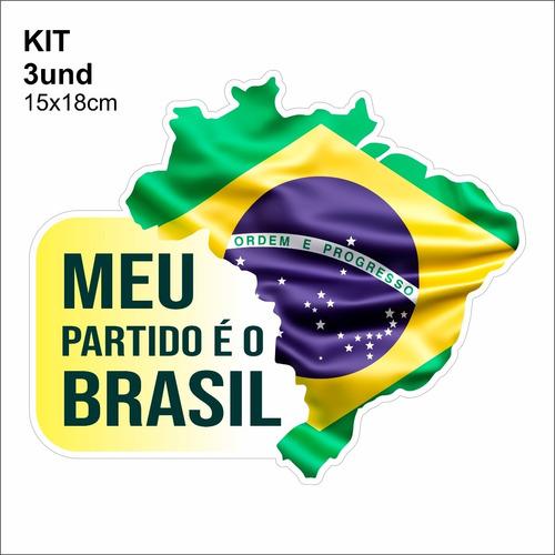 Adesivo Vinil - Meu Partido É O Brasil - Bandeira Mapa