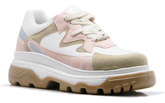 Zapatilla Mujer Blanco Rosa Sneaker Savage Urbana 2019