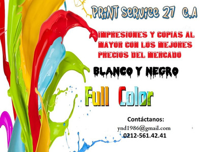 Impresiones Y Copias A Color Y B/n Al Mayor ( Ofertas)