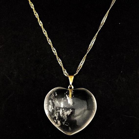 Colar Coração Folheado Pedra Cristal Natural Quartzo 649
